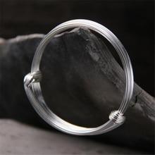 China Fashion Multilayer Wire Bangle Bracelet Custom Charm Bracelet Jewelry 925 Sterling Silver Adjustable Twisted Bangles