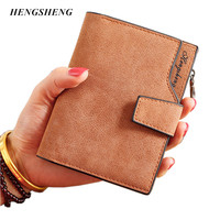 New Ladies Wallets Letter Snap Fastener Zipper Short Clutch Vintage Matte Women Wallet Small Female Short