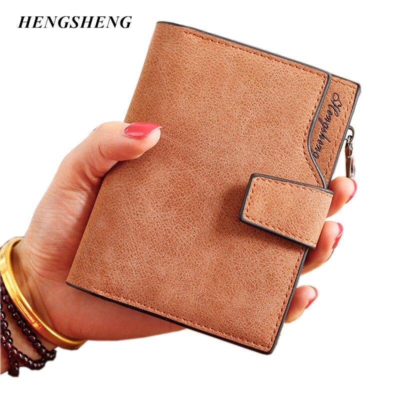 New Ladies Wallets Letter Snap Fastener Zipper Short Clutch Vintage Matte Women Wallet Small Female Short
