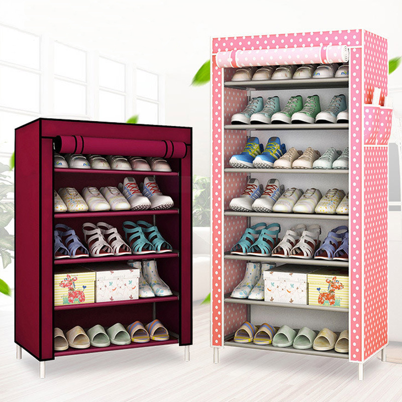 Movable Home Shoe cabinet 8-layer Non-woven fabrics large Simple printing shoe rack organizer removable shoe storage for bedroom