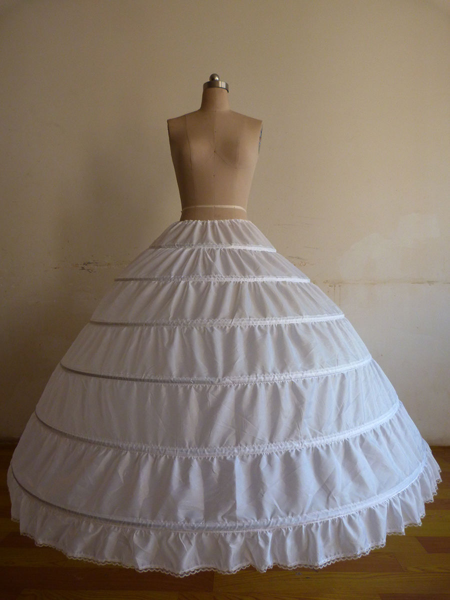 Fast Shipping White/Black 6 Hoops Petticoat Crinoline Slip Underskirt For Wedding Dress <font><b>Bridal</b></font> <font><b>Gown</b></font> In Stock <font><b>2018</b></font> image