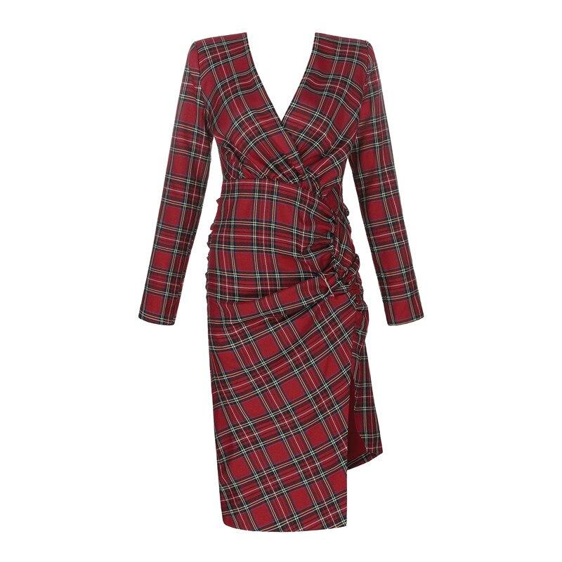 Mode Épais Genou Red Manches Femmes Longueur Robe De Longues Plaid Plissé Hiver Fendue Soirée À Luxe Marque WDEH9I2