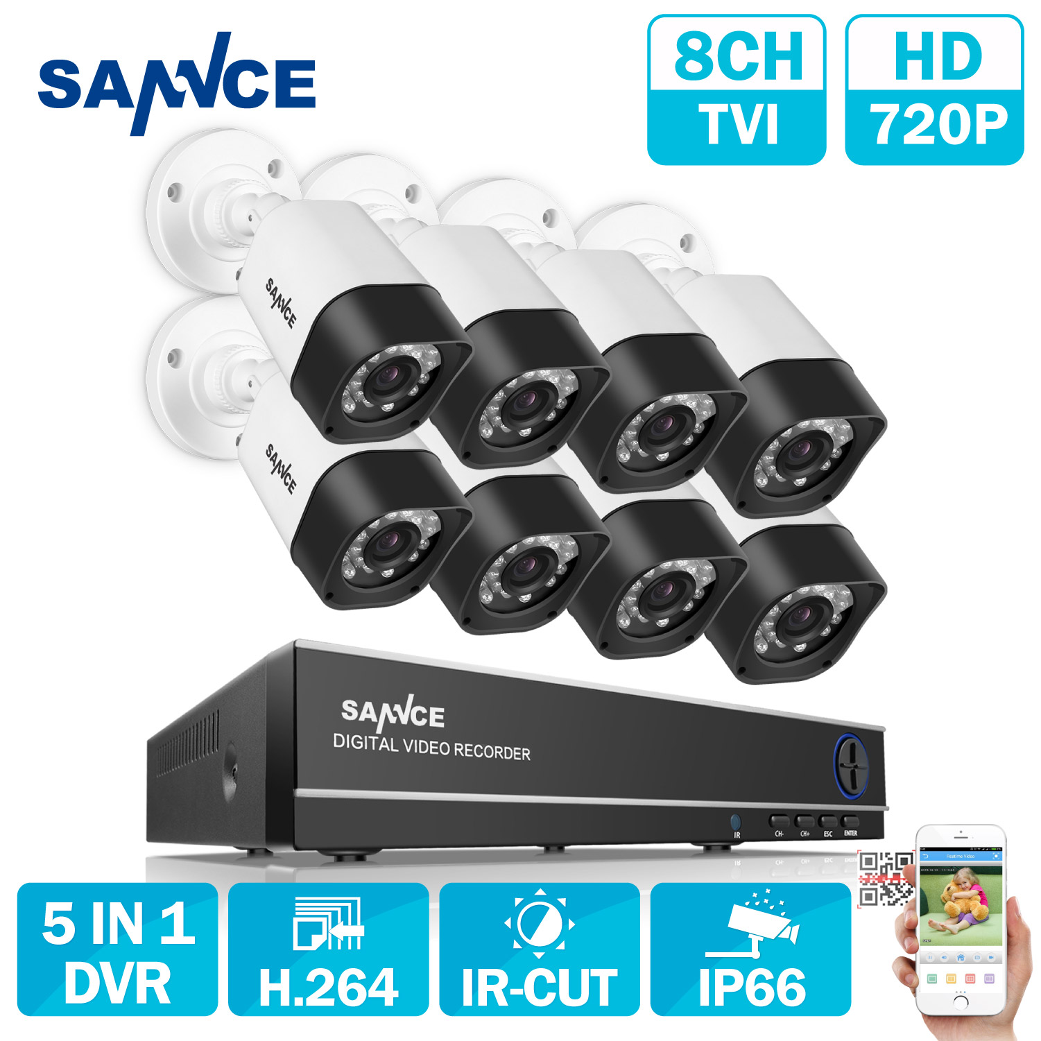 SANNCE 8CH CCTV System 720P HDMI AHD CCTV DVR 8PCS 1.0 MP IR Outdoor Security Camera 1200 TVL Camera Surveillance System