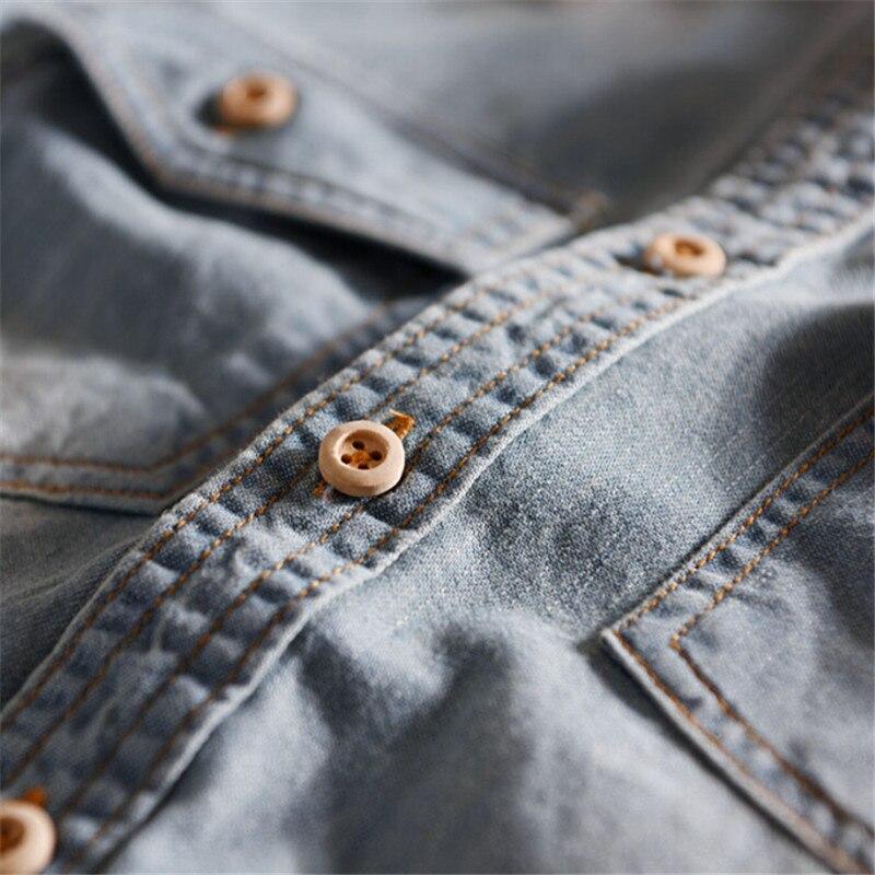 2018 High quality mens denim shirt fashion Retro nostalgia Long sleeve pocket shirt for man wash soft denim shirts