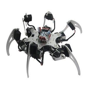 Alumínio Hexapod Aranha Seis Pernas Kit Robô + 18 18DOF pcs MG996R Servos + Conjunto Completo Controlador para Arduino Aranha robô