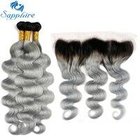 Sapphire Brasilianischen Bundles Mit Frontal Remy Haarkörperwelle Ombre TIB/Grau Haar 3 Bundles Mit Spitze Frontal T1B/grau Haar
