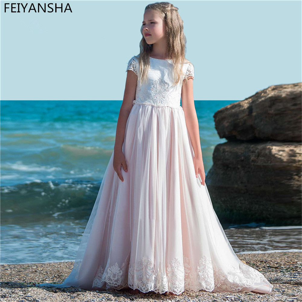 Long Train First Communion Dresses For Girls Pageant Gowns 2018 Vestidos daminha Arican Muslim Flower Girl Dresses For We