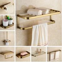 Acessórios do banheiro de cobre luxo antigo barra toalha prateleira de vidro suportes escova higiênico suporte papel montagem na parede banho conjunto de ferragens