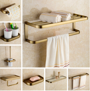 Luxury Copper bathroom accessories antique towel bar glass shelf toilet brush holders paper holder wall mount bath hardware set meifuju vintage toilet paper holder with shelf wall mount bathroom accessories bronze paper holders antique brass roll holder