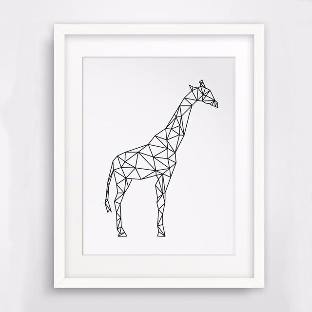 G Om Trique Conception Girafe Impression Sur Toile Peinture Murale Sauvage Animaux Dessin Image