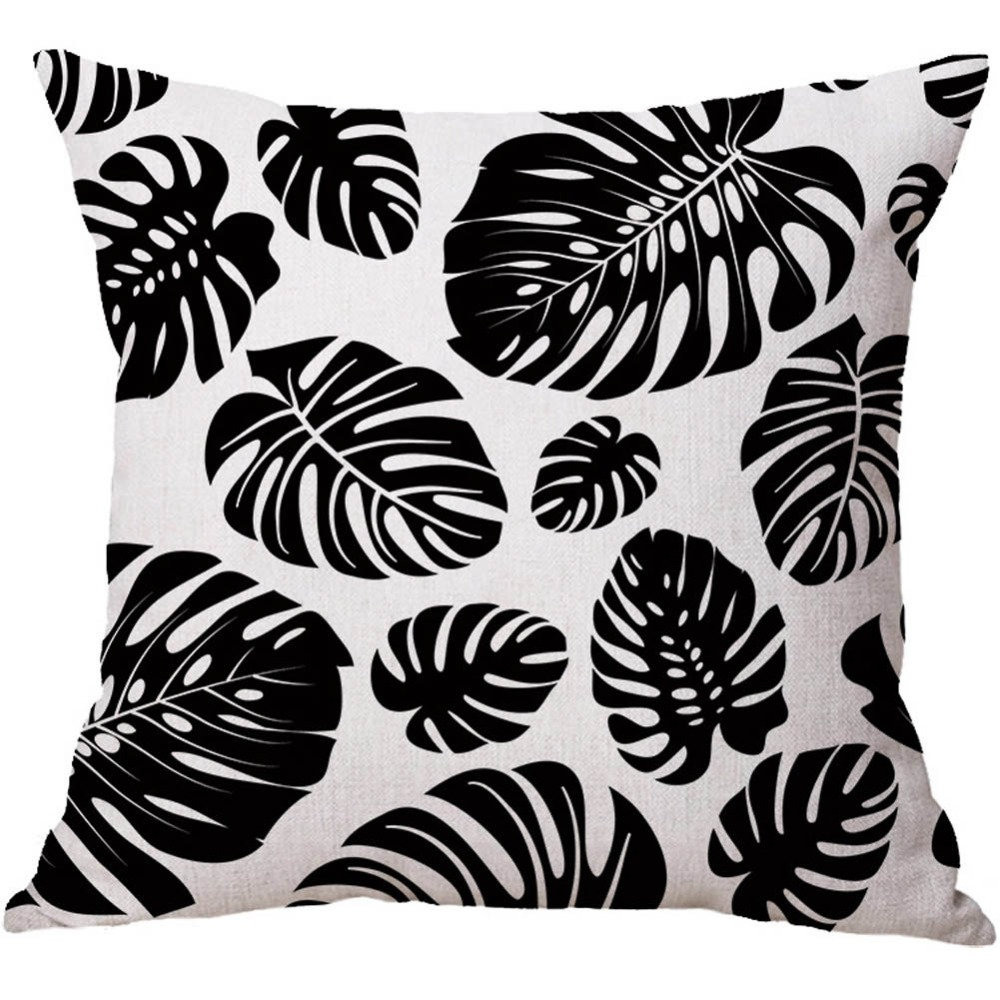 Soft Lint Summer Tropical Jungle Plant Throw Pillow Case Palm Leaves Cushion Cover Black White Geometric Pattern Home Decor