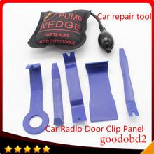 6p/set Car Repairing Tool Radio Door Clip Panel Trim PDR Hook Tools Kit Push Rod with windows pump wedge Perfect for Door Dings