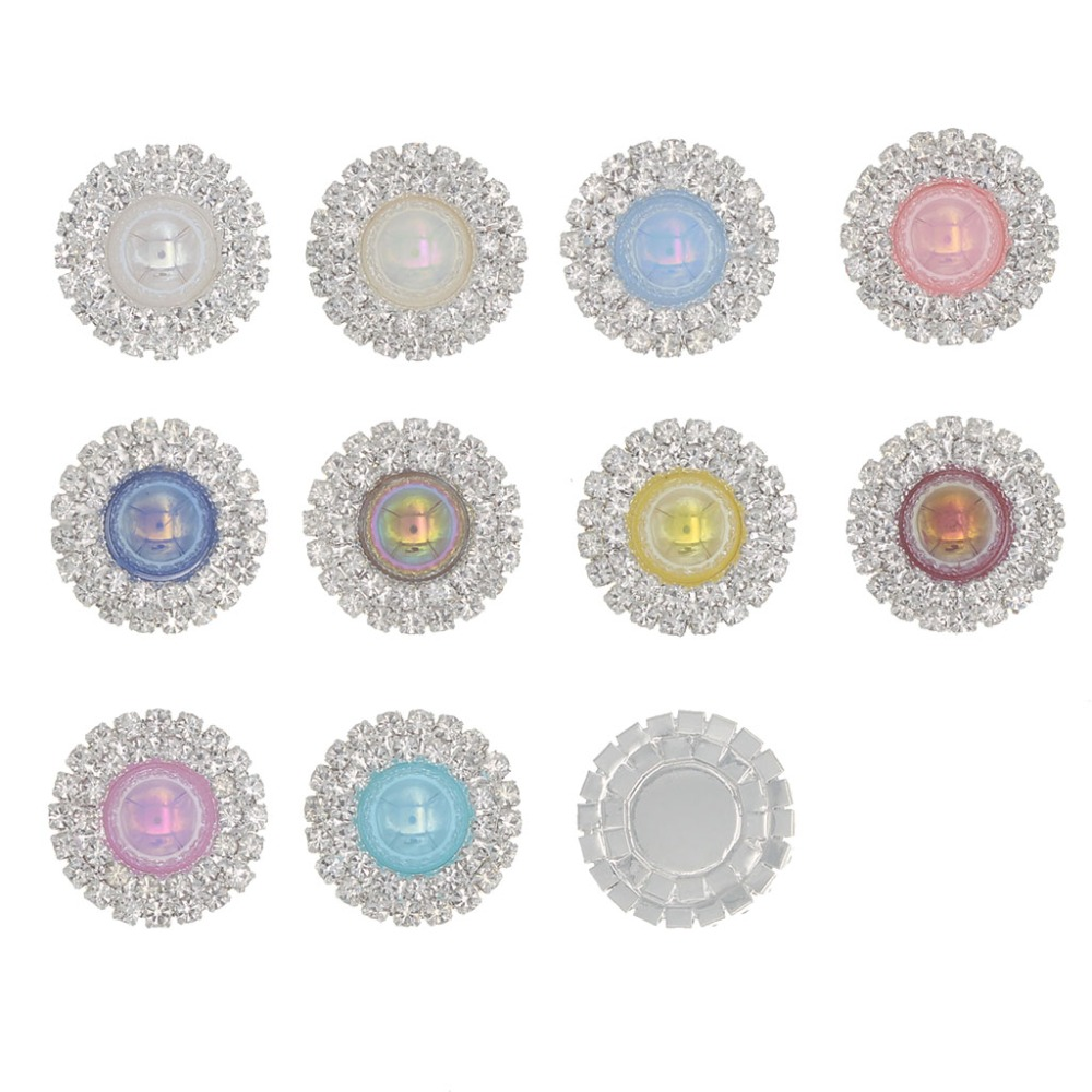 Rhinestone AB Pearl Button Flatback Botone Decorativos Rhinestone Embellishments Decorative Silver Buttons for Craft Accessories in Buttons from Home Garden