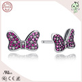 Fashion Red Stone Paving Bowknot Design S925 Sterling Silver Bowknot  Earring