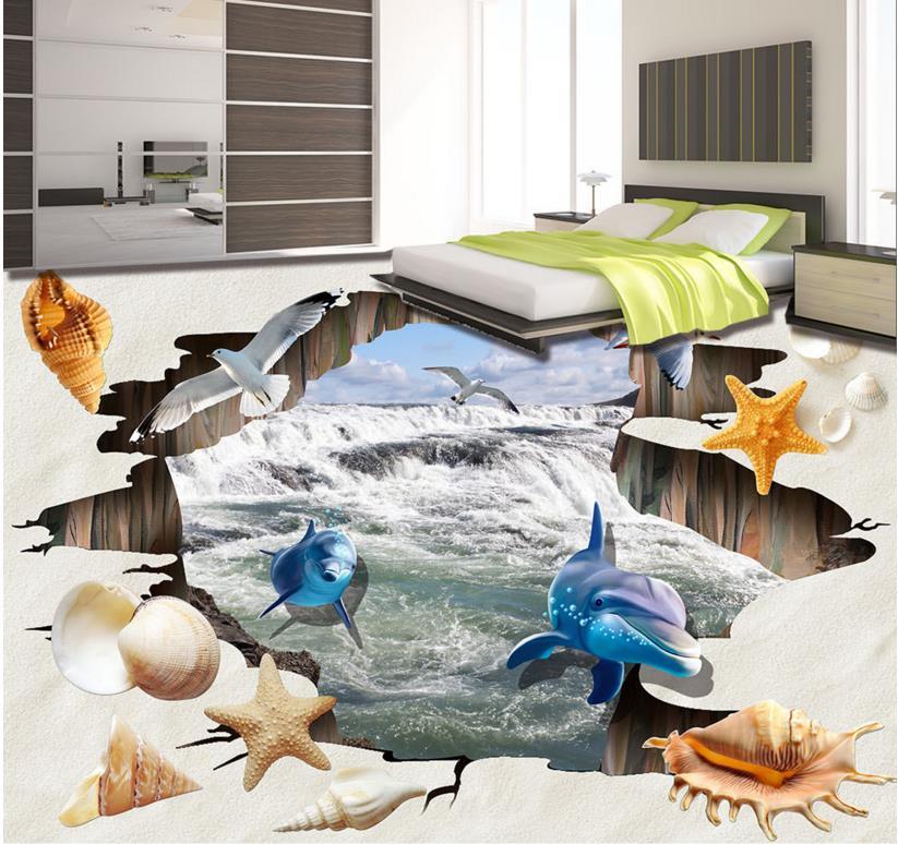 ФОТО 3d floor wallpaper custom 3d stereoscopic pvc flooring roll wallpaper Shell Beach 3d floor mural Waterproof wallpaper
