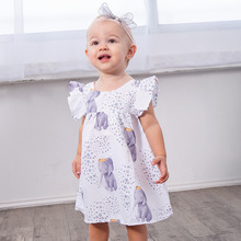Cute Summer Baby Flutter Sleeve Girls Dresses Casual Girls White Dress Cartoon Elephant Girls Clothes For Kids Fashion Star