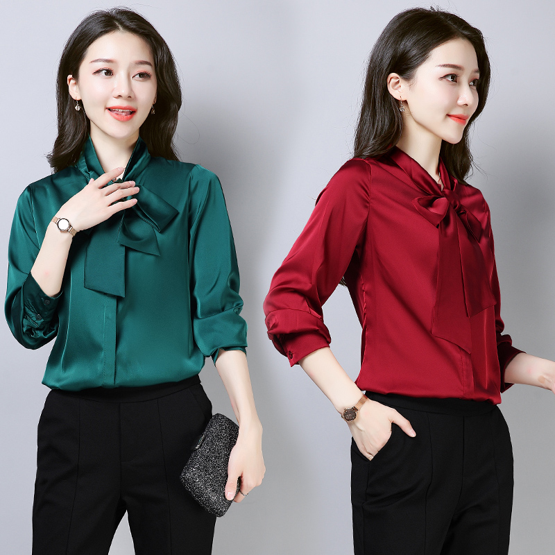 Stinlicher Elegant Ladies Bow Tie   Shirt   Women Vintage Green Pink Black White   Blouse     Shirt   Autumn Satin Silk Long Sleeve   Shirt