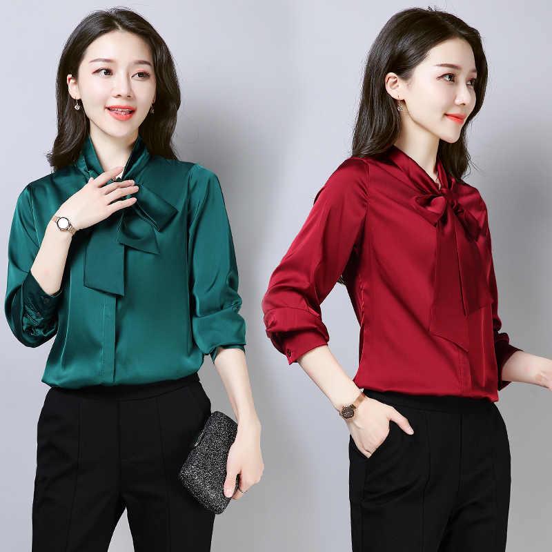 75068233866 Stinlicher элегантная женская рубашка с галстуком-бабочкой Женская  винтажная зеленая розовая черная белая блузка рубашка