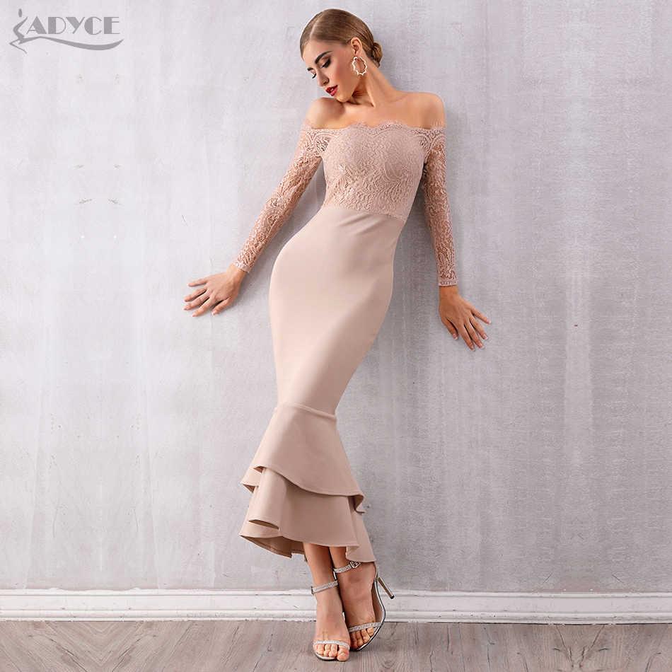ADYCE קיץ נשים כבוי כתף תחרה תחבושת שמלת סלבריטאים המפלגה שמלת Vestidos סקסי ארוך שרוול סלאש צוואר Bodycon מועדון שמלה