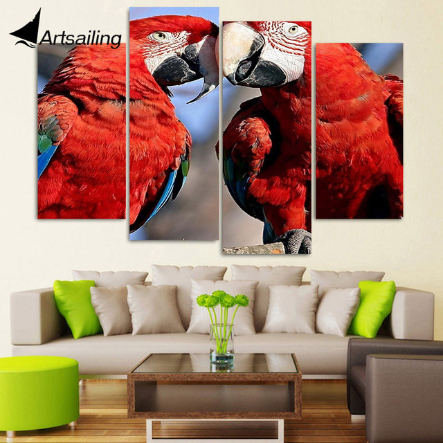 4 panel canvas art canvas painting red couple parrot caring hd