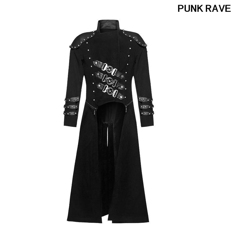Gothique Militaire Uniforme Armure Rivet mince longue Veste De Mode Hommes Amovible Double Zipper Lourd De Laine Manteaux PUNK RAVE Y-708