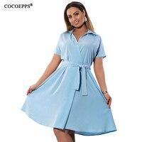 COCOEPPS Solid Plus Size Chiffon Women Dress Elegant Turn Down Collar 5XL Ladies Dresses New Office