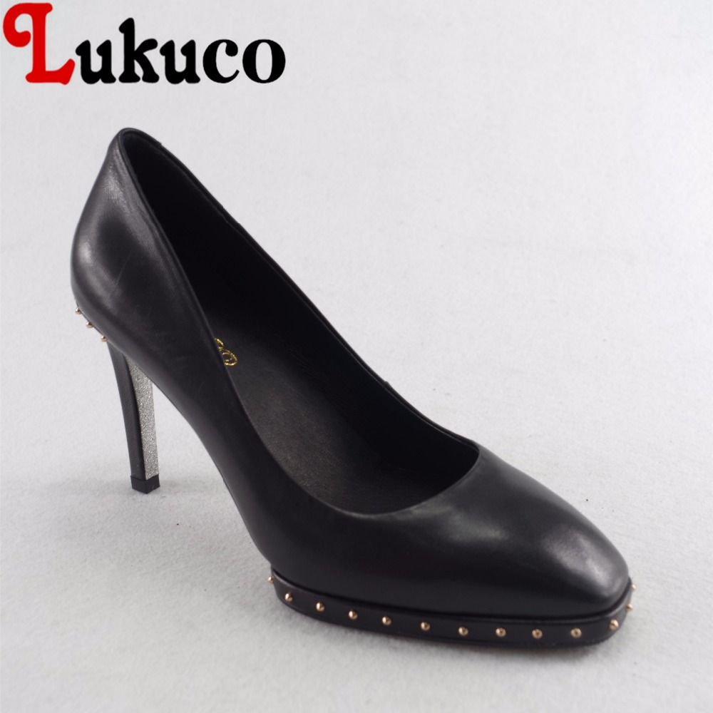 Lukuco sexy pure color women square toe party pumps microfiber made rivets design high thin heel shoes with pigskin inside lukuco pure color women mid calf boots microfiber made buckle design low hoof heel zip shoes with short plush inside
