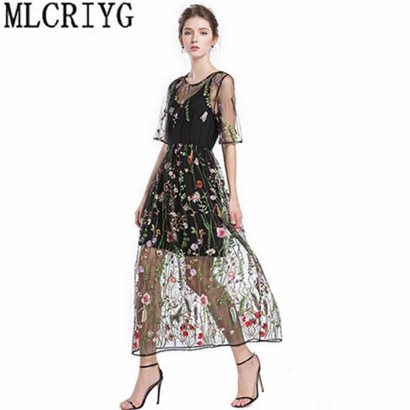 Fashion Women Long Dress Summer Mesh 2018 Elegant Embroidery Runway Dress  Female Plus Size Party Dresses 285812c4f3ad