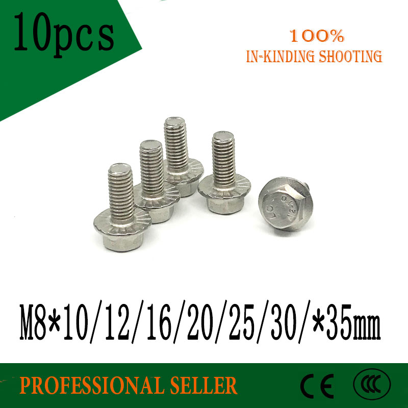 10pcs <font><b>M8</b></font> * 10/12/16/20/25/30/35 mm 304 stainless steel Flange <font><b>Bolt</b></font> Hex Drive Flange Screws Cap Head <font><b>Bolts</b></font> Fastener Accessories image