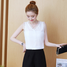 Sexy V-neck Lace Top Women Vest Summer Office Elegant Breathable Body Work Wear Ladies Tops for Party Wedding
