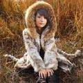 2016 Fashion Genuine Rabbit Fur Coat Natural Mujeres Trinchera Abrigos de Vestir Exteriores de Piel de Mapache Con Capucha de Piel de Invierno Ropa VK1465