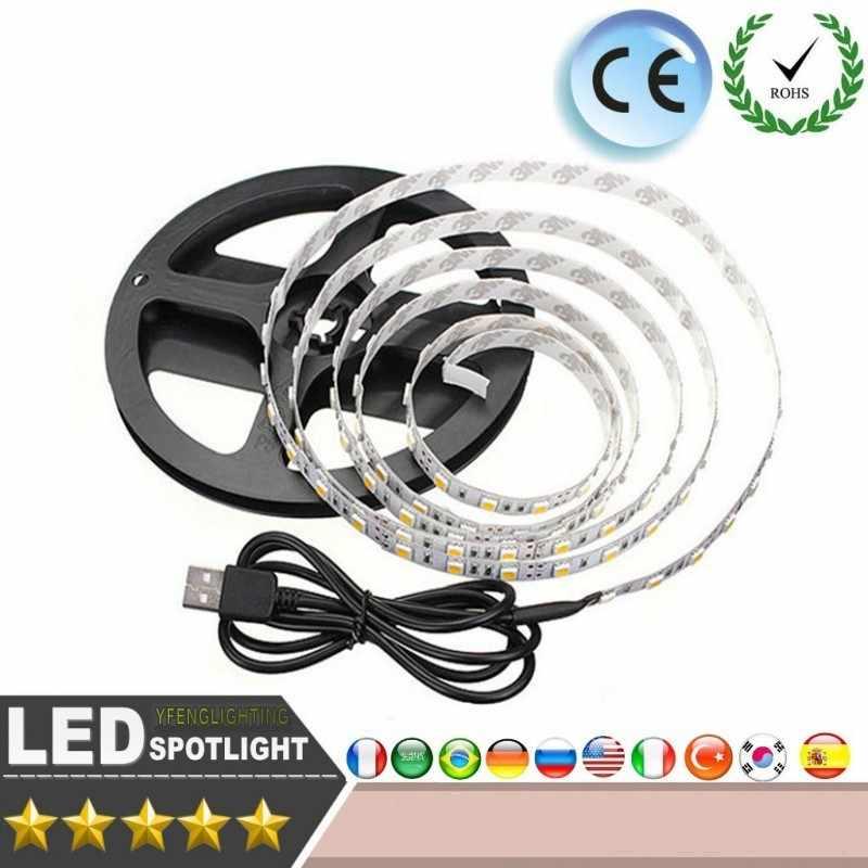 LED USB Strip Licht 5 V 1 M 2 M 5 M Kabel Power lamp SMD 3528 Kerst bureau Decor lamp tape TV Achtergrond Computer cabine verlichting