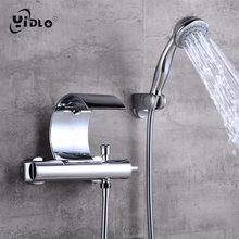 Купить с кэшбэком Fashion Waterfall Shower Faucets Cambered Wall Mounted Silver Solid Spout Bathroom and Bathtub Faucets Mixer Torneira Taps A22