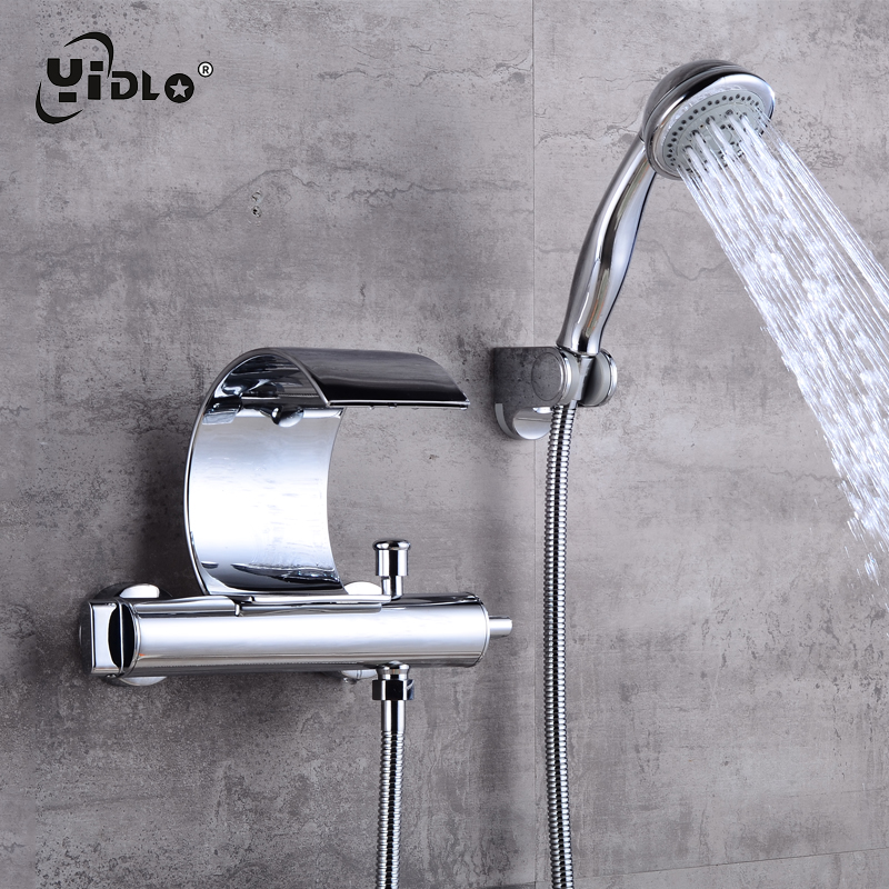 Fashion Waterfall Shower Faucets Cambered Wall Mounted Silver Solid Spout Bathroom and Bathtub Faucets Mixer Torneira Taps A22