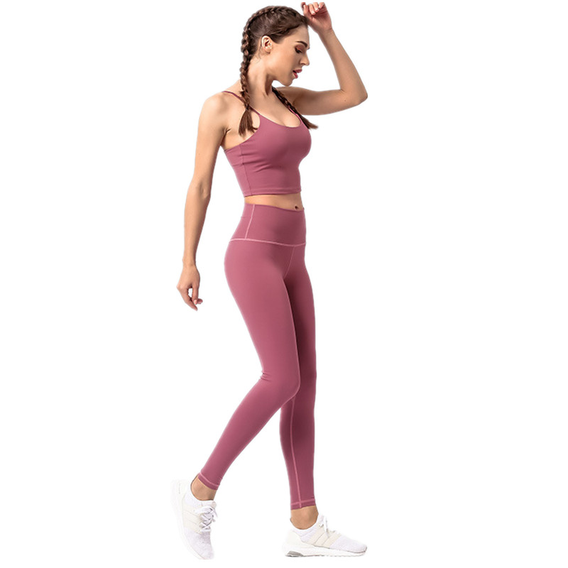 f76bfc011d329 Yoga Set Ladies Health Clothes Sports activities Prime Skinny shoulder  strap bra Gymnasium Leggings Padded Strappy