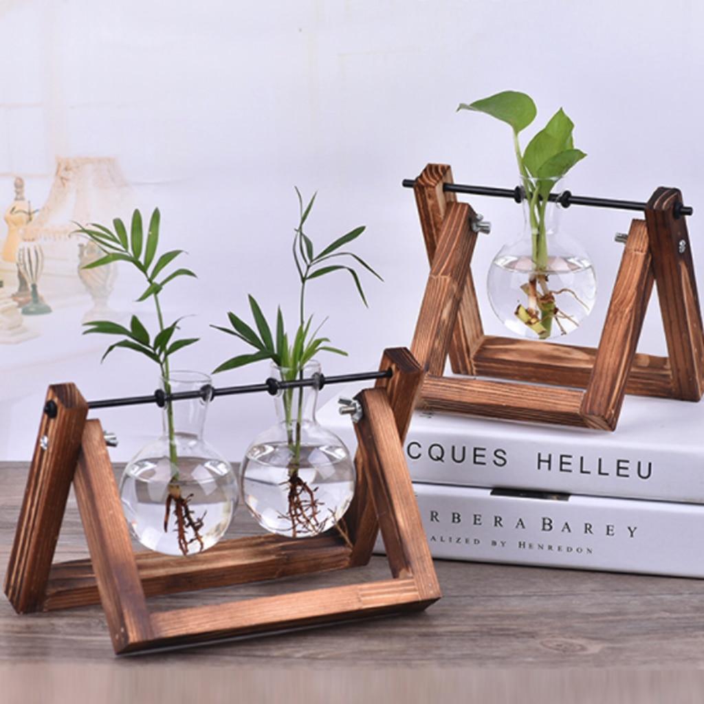 Vasos de plantas hidropônicos vaso de vidro plantador terrário mesa mesa de trabalho bonsai vaso de flores pendurado vasos com bandeja de madeira decoração para casa