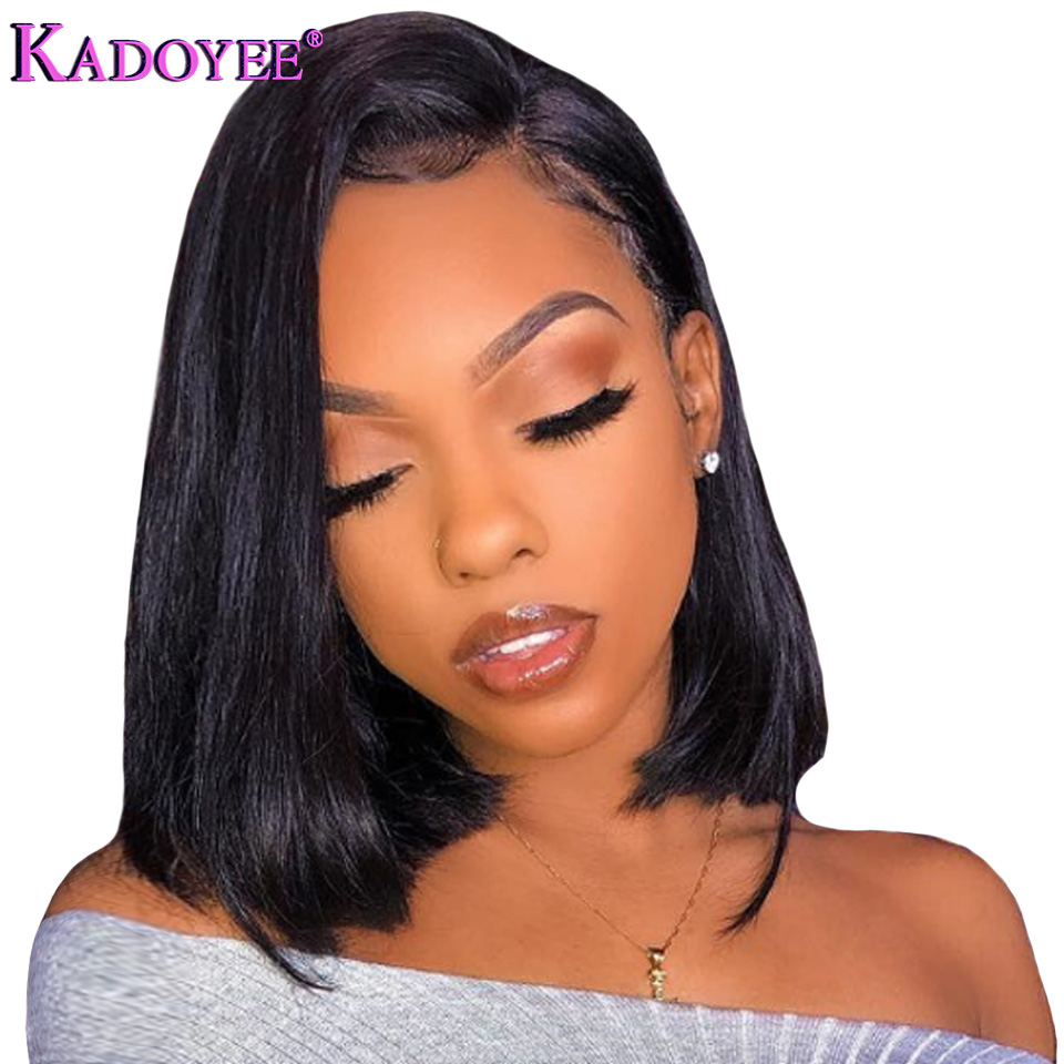 Brazilian Bob Wig Straight Lace Front Human Hair Wigs Pre Plucked Natural Color Bleached Knots Remy
