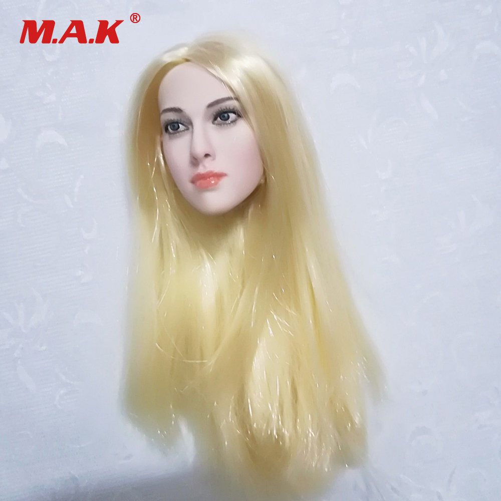 1/6 Scale Female Pale Head Sculpt with Golden Hair for 12 inches Action Figure Phicen Body aisi hair 1b 6 inches
