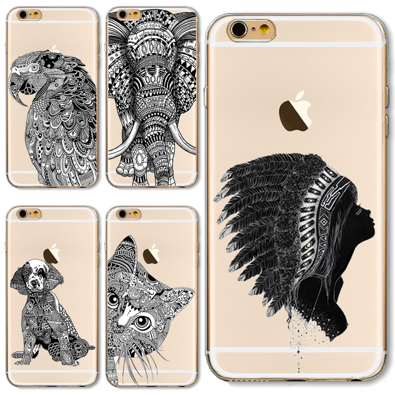 TPU Cover For Apple iPhone 4 4S 5 5S 5C SE 6 6S 6Plus 6SPlus Cases Painted Head Box Aztec Parrot Cat Giraffe Animal Indians Hot ...