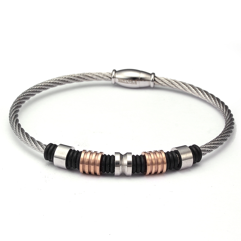 New Brand Stainless Steel Beads Bracelets & Bangle Men Women Jewelry Unique Magnet Wire Cuff Braided Male Charm Bracelets bangle