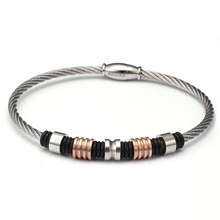 Beads Bracelets Magnet-Wire-Cuff Braided Bangle Men Women Jewelry Stainless-Steel Male