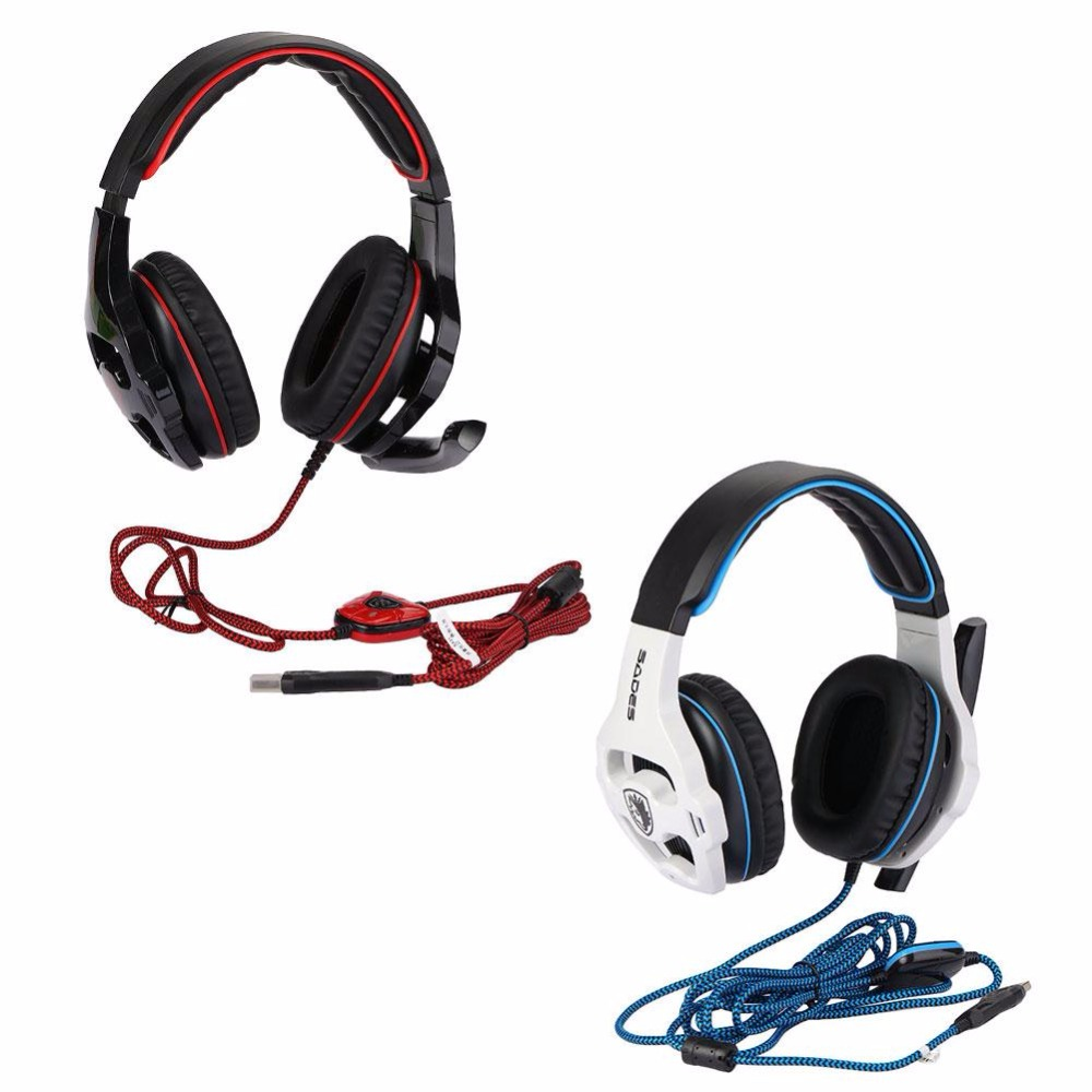 SADES SA-903 Gaming Headset 7.1 Surround Sound channel USB Wired Headphone with Mic Volume Control Best for Boy Gaming Gift