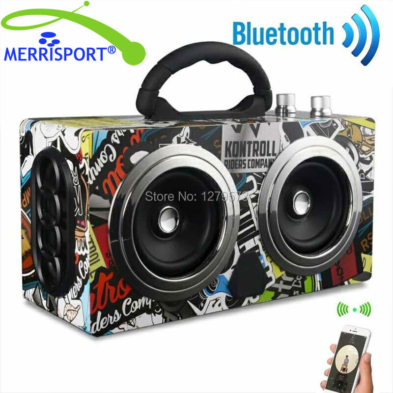 MERRISPORT Wooden Portable Bluetooth Speaker Wireless Retro Bluetooth Speaker Dual Loudspeaker Surround 3D Super Bass Subwoofer 20w portable wooden high power bluetooth speaker dancing loudspeaker wireless stereo super bass boombox radio receiver subwoofer