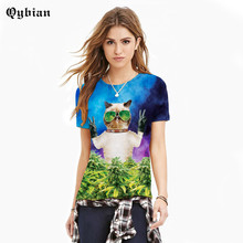 Qybian men/women's summer animal 3d t-shirt hiphop print floral leaf galaxy character 3d shirt clothing T shirts