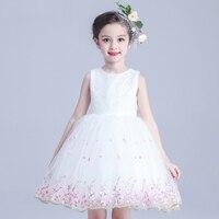 赤ちゃんの女の子プリンセスドレス花弓ネクタイチュチュドレス子供パーティー誕生日ノースリーブレースガールウェディングvestidoホワイトピンクウエディン