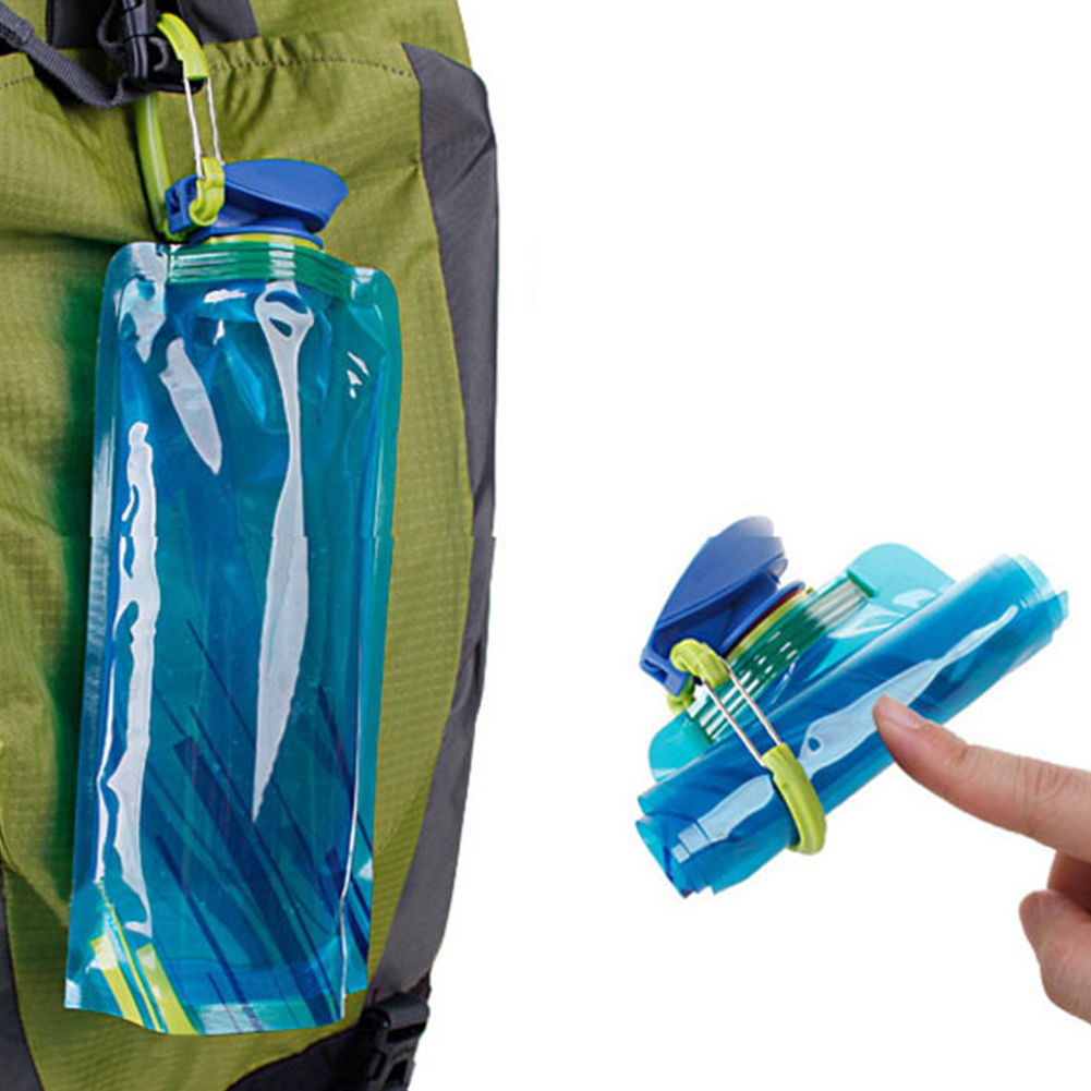 Portable 1L Outdoor Foldable Folding Plastic Light Drinking Water Bottle Bag Pouch Bladder Sport Bags for Camping Hiking Picnic