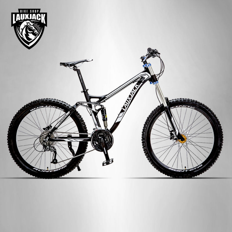 LAUXJACK Mountain Bike de Suspensão Total Quadro de Alumínio 24/27 Velocidade Hidráulico/Mecânico de Freio 26
