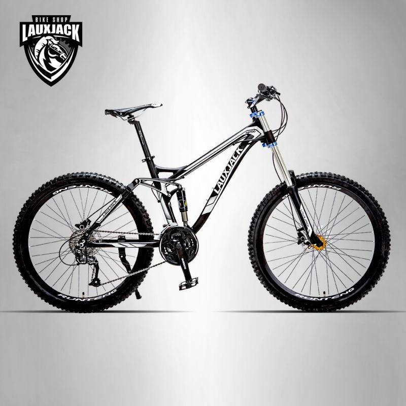LAUXJACK Mountain Bike Full Suspension Aluminum Frame 24/27 Speed Hydraulic/Mechanic Brake 26 Wheel best price 1002 100 38 41 hand hydraulic carrier polyurethane wheel with aluminum center
