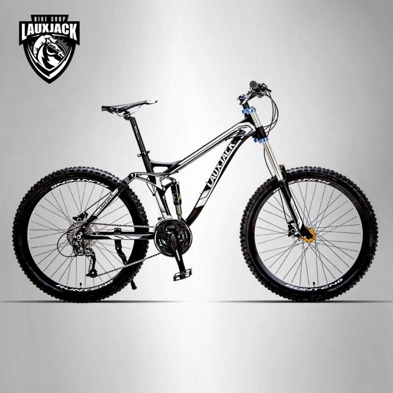 LAUXJACK Mountain Bike Full Suspension Aluminum Frame 24/27 Speed Hydraulic/Mechanic Brake 26 Wheel Shimano Altus
