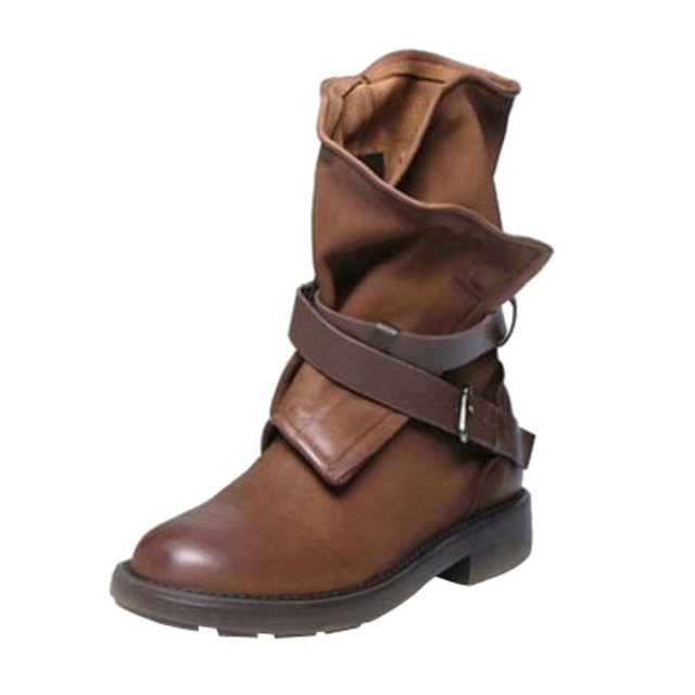 Fashion Medium Military Boots Women Buckle Artificial Leather Patchwork Shoes sapatos mulheres conforto#a35